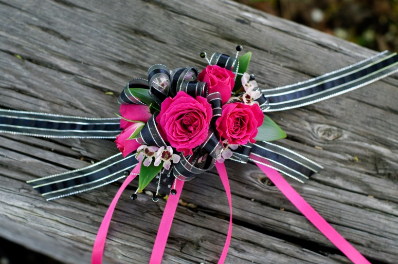 Classic rose wrist corsage with sparkles