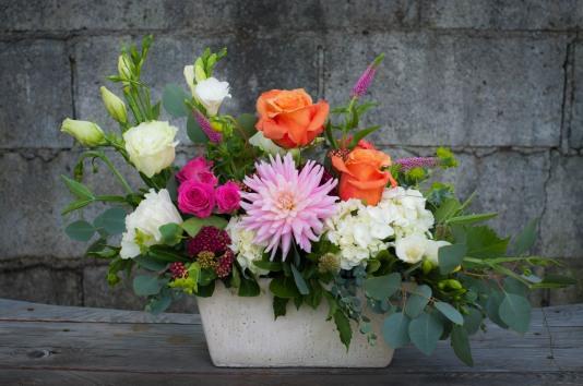 Planter bouquet with dahlia